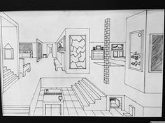 7th Grade 2D Art. 1Point Perspective Interior Space Drawing. This finished project has a focus on Visual Art Standards 1PR, 3PR, 2PE and 6RE.  I love this project because when the students understand how this drawing technique works they are so excited that they can draw things that look 3D on a 2D surface.