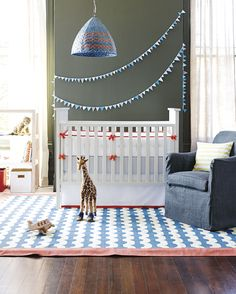 Fab navy and tomato red nursery by Serena & Lily