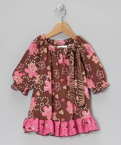 Take a look at this Brown & Pink Spot Garden Peasant Tunc - Infant, Toddler & Girls by Corky's Kids on #zulily today!