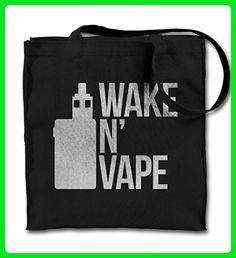 Awake N' Vape E-Cig Vaping Cloud Chaser Black Canvas Tote Bag, Cloth Shopping Shoulder Bag - Shoulder bags (*Amazon Partner-Link)