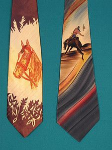 Two Western Hand Painted Ties, 1940s