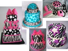 Zebra pattern cakes. Marissa loves the blue polka dotted zebra cake with some peace signs and sparkles on the bow!