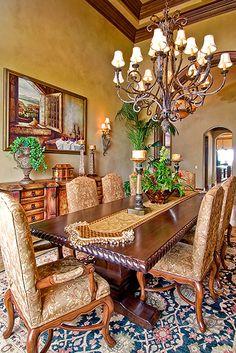 Tuscan Dining Room #Home #Tuscan #Design - Find more Ideas on www.IrvineHomeBlog.com/HomeDecor  Irvine, California - Christina Khandan ༺༺ ℭƘ ༻༻