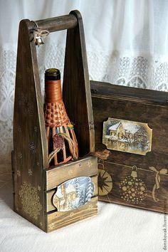 """Купить Короб для вина/шампанского """"Новогодний"""" - короб, коробочка для подарка, короб для хранения, короб для вина"""
