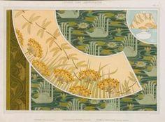 L'animal Dans la Décoration,1897 ~Poissons. Frise au pochoir. Libellules et butome, abat-jour. Cygnes et nénuphars, velours imprimé,Maurice Pillard Verneuil.