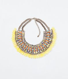 Image 1 of DIAMANTE AND CORD NECKLACE from Zara