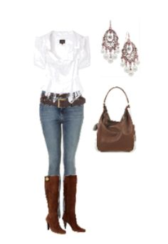 White fitted shirt, white chandelier earrings and brown boots. Created by Megan at polyvore.com