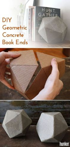 DIY Geometric Concrete Bookends Tutorial Make your own book ends out of concrete (yes, concrete!) and shape them into these trendy geometric shapes. This is an easy, creative project that adds a couple of unique pieces to your home and tons of character! Geometric Decor, Geometric Shapes, Modern Bookends, Bookends Diy, Diy Projects For Couples, Couple Crafts, Homemade Books, Easy Home Decor, Creative Home