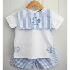 Boys blue seersucker short set with tabs and square collar by Cecil and Lou Monogramming Available