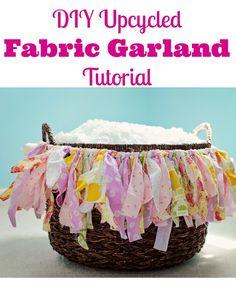 DIY Upcycled Fabric Garland Tutorial #diy #upcycle