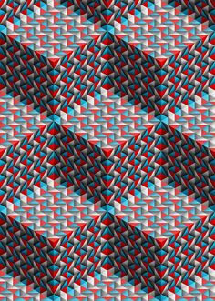 ♥ {I'm always looking for new and different ways to depict cubes, etc. from my abstract patterning coloring books! This one is awesome! Geometric Pattern Design, Geometry Pattern, Geometric Art, Geometric Designs, Art Optical, Optical Illusions, Textile Patterns, Print Patterns, Graphic Patterns