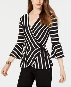 BCX Juniors' Striped Bell-Sleeve Wrap Top Saree Blouse Neck Designs, Blouse Designs, Classy Outfits For Women, Clothes For Women, Couture Tops, Blouse Styles, Long Tops, Bell Sleeves, Ideias Fashion