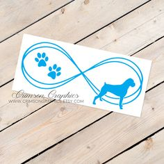 Boxer Dog, Infinity Decal, Sticker, Silhouette, Window, Car, Laptop, Cell Phone, Mirror, Computer, Made to Order