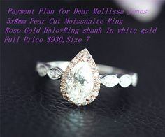 Items similar to Payment for Dear Mellissa Jones Pear C& C Forever Brilliant Moissanite Wedding Ring,Rose Gold Halo and Shank in white gold on Etsy Rose Gold Moissanite Ring, Moissanite Wedding Rings, Forever Brilliant Moissanite, White Gold Rings, Natural Diamonds, Halo, Engagement Rings, Gemstones, Pear