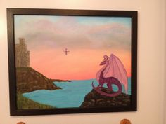 Purple Dragon Acrylic Painting by HeartstringsNStitchs on Etsy