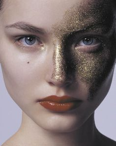 "make-up-is-an-art: "" Ruslana Korshunova "" Glitter Make Up, Glitter Face, Gold Glitter, Gold Nail, Glitter Girl, Gold Sparkle, Makeup Carnaval, Beauty Make Up, Hair Beauty"