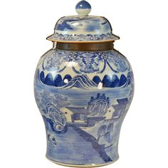 Giant 18th century Chinese Blue & White Porcelain Palace Floor Vase or Jar with Cover