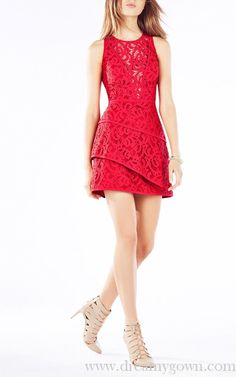 BCBG Layered Hanah Scroll Lace Red Carpet Dress Short 2016