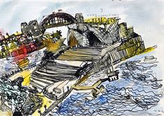 Painting of Sydney Opera House and Harbour Bridge by young Ping Lian Yeak. Ping Lian was born in Malaysia but lives in Sydney (Australia). Read more at http://www.pinglian.com/. Image description: a black-and-white line drawing of the Sydney Opera House with the Harbour Bridge in the background, which has been hand coloured in blues, yellows and red.