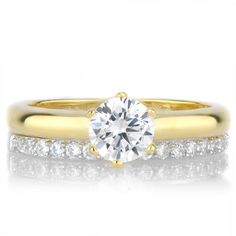 Goldtone Sterling Silver Cubic Zirconia Petite Wedding Ring Set ($56) ❤ liked on Polyvore featuring jewelry, rings, yellow, round wedding rings, sterling silver pinky rings, sterling silver cz rings, sterling silver wedding rings and cubic zirconia wedding rings