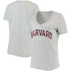 Harvard Crimson Champion Women s Basic Arch V-Neck T-Shirt - Heathered Gray a0f30b4c4c4