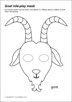 Simple printable masks (colour and b&w) for use in role-play or for retelling a story/rhyme. Farm Animal Crafts, Farm Crafts, Animal Masks For Kids, Mask For Kids, Printable Cow Mask, Goat Mask, Billy Goats Gruff, Baby Goats, Animal Heads