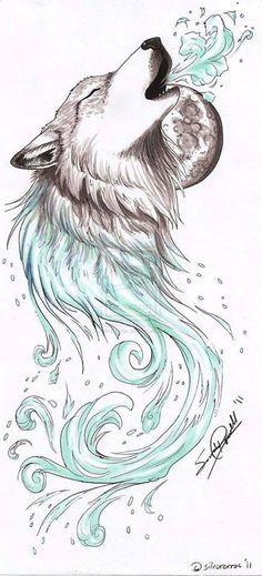 awesome wolf tattoos for women Lobos Animal Drawings, Cute Drawings, Tattoo Drawings, Body Art Tattoos, Sleeve Tattoos, Pencil Drawings, Drawings Of Wolves, Drawing Animals, Cross Tattoos