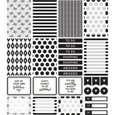 Silhouette Design Store: planner stickers | black & white collection
