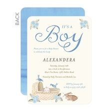Little Visitors: Lapis Boy Baby Shower Invitations
