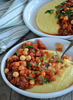 This is a comforting and easy vegetarian dish that is also gluten free.  It's a go to meal for us during the week!  Chickpea Puttanesca over Creamy Polenta from mountainmamacooks.com