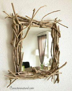 personalizacao de espelho com galhos de arvore - projeto diy com madeira
