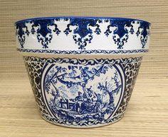 Toile Ginger Jar Wedding Flower Pot Blue & White French