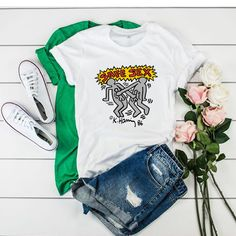 Harry Styles Keith Haring Safe Sex t shirt Crash Bandicoot, Fat Freddy's Cat, Daniel Johnston, Sigur Ros, Trendy Outfits, Fashion Outfits, Baby Groot, Freddy S, Baby Prints