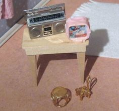 Miniature Dollhouse Boom Box Cassette Tape Player  Record Player with Albums and 45 record by AshleysSunroom on Etsy