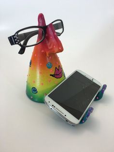 IPHONE STAND-EYE GLass Holder Cell Phone Desk by PondScumCeramics