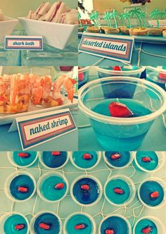 beach party decorations | Mmm, mini sandwiches, quiches, shrimp cocktail with mango salsa, fruit ...