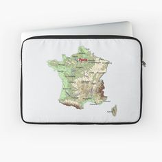 """FRANCE detailed physical map topographic map of FRANCE with Capitals and Major Lakes and Rivers"" Laptop Sleeve by mashmosh France Map, Topographic Map, Canvas Prints, Art Prints, Back To Black, Rivers, Lakes, Laptop Sleeves, Physics"
