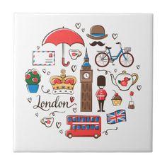 London Doodles Ceramic Tile