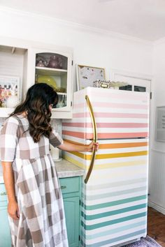how to paint a rainbow fridge- easy and affordable. How to paint a boring white fridge and ideas for how to paint it fun colors- pink, orange, yellow, green, and blue Design Case, Diy Design, Diy Home Decor, Room Decor, Small Patio, House Colors, Orange Yellow, Blue, Home Projects