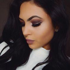 Makeup: Brown Smoky + Gold Eyeliner + Taupey Mauve Lips#makeup