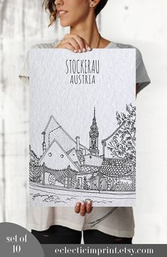 Hand drawn cities Set of 8 posters Instant download Digital