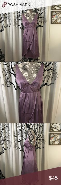 """Vera Wang Cocktail or Bridesmaids Dress SZ 4 Stunning Vera Wang soft satin cocktail or bridesmaids dress in a gorgeous lavender color. Deep v neckline with low back, zipper closure. Absolutely perfect condition with no flaws. SZ 4. True to size in my opinion - the mannequin in the photo is a SZ 4. Bust measures more like 18"""" with the cups. I just had to help an employee who was having a seizure. Held him for five minutes until he stopped while we waited on 911. It brought back all the…"""