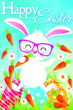 """Blue """"Happy Easter"""" Bunny and Carrot Outdoor House Flag x Happy Easter Quotes, Happy Easter Wishes, Happy Easter Bunny, Easter Pictures, Holiday Pictures, Thanksgiving Pictures, Easter Photo Frames, Easter Greetings Messages, Happy Easter Wallpaper"""