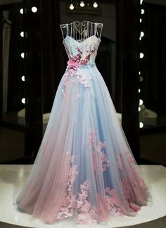 Unique pink and blue tulle sweetheart long spaghetti straps senior prom dress with applique #prom #dress #promdress #promdresses