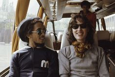 Bob Marley with Kate Simon (Exodus tour bus, 1977)