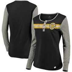 Women s Boston Bruins Fanatics Branded Black Heathered Gray True Classics  Retro Henley Long Sleeve T-Shirt 1893f010b