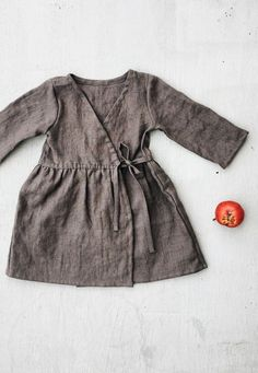 Little Girl's Simple Washed Linen Wrap Dress | simplygreylife on Etsy