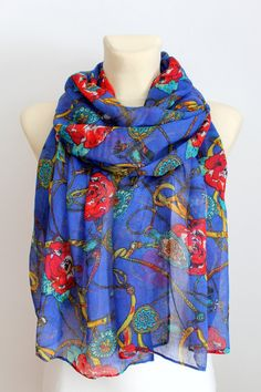 Scarf with Roses - Blue Floral Scarf - Floral print Scarf - Floral Fabric Scarf - Women Fashion Accessories - Boho Scarf - Gift Idea for her