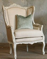 European Grain Sack  Linen On A French Wing Back Chair - French country chairs