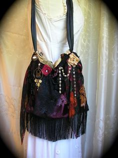 pictures of Bohemian gypsies | Bohemian Gypsy Bag, velvets beads fringe embellishment, handmade ooak ...
